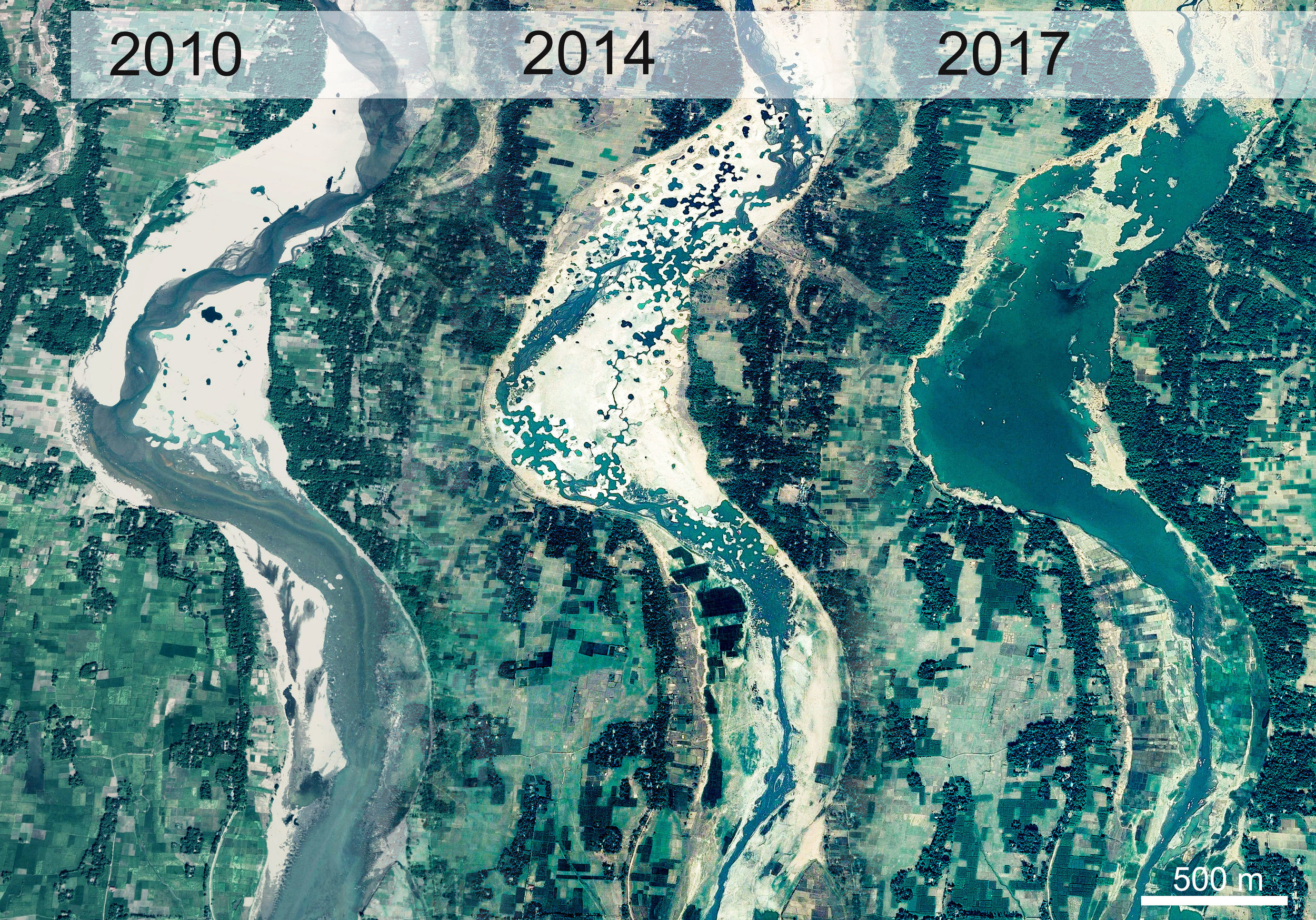 The rapidity of the effects of alluvial gravel and sand mining: Eight years of increasing mining activities on part of the Wah Umngi River, northern Bangladesh. Images courtesy Google Earth.