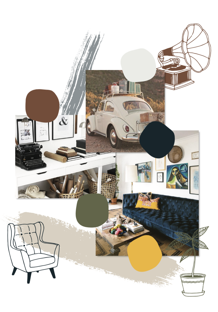 Digital moodboard concept for Avenue 89 Co by Rachel Cottrell of The Bloom Design Company with vintage modern elements | #graphicdesign #sophisticated #classic #intentionalliving #moodboard #branddesign #colorpalette #brandinspiration #branddesigner #logodesigner #styleboard