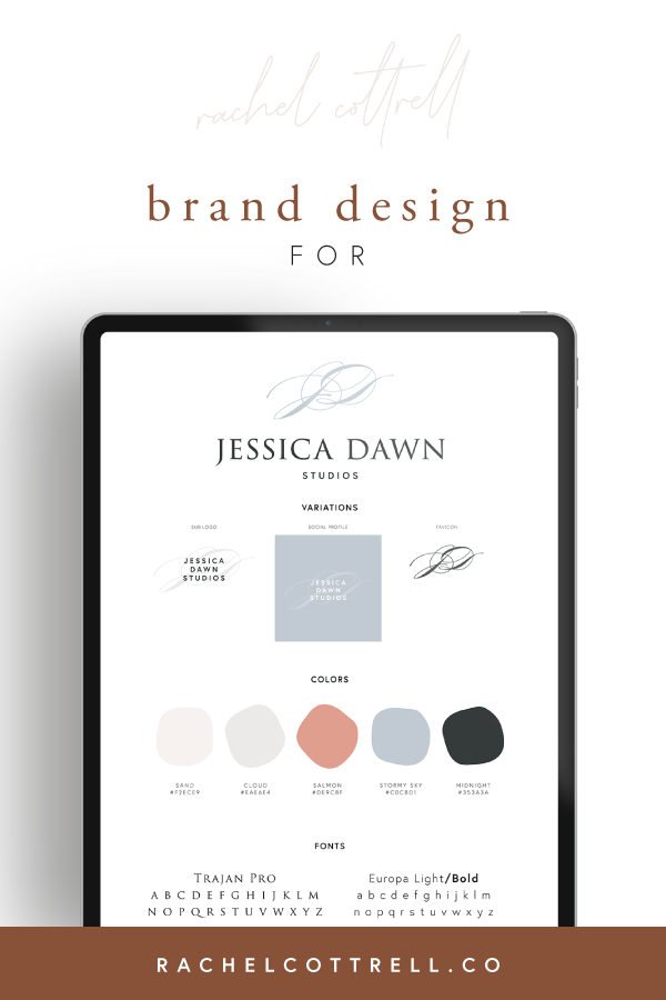 Brand design for Jessica Dawn Studios by Rachel Cottrell of The Bloom Design Company | #graphicdesigner #branddesign #weddingphotographer #romanticweddingphotos #modernbrand #moodboard #photogbranding #branding #familyphotographer #creativebusiness #mycreativebiz #womeninbusiness #bossbabe #girlboss