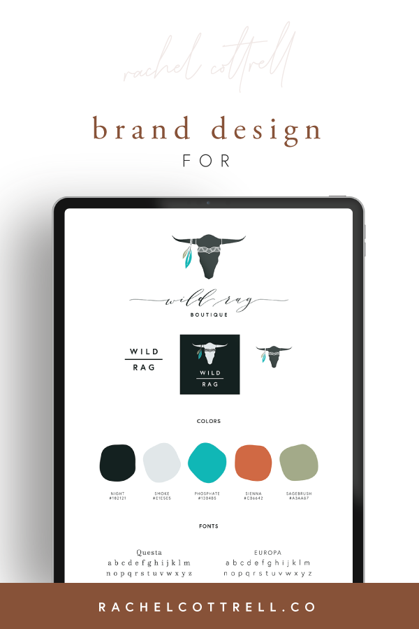 Brand design for Wild Rag Boutique by Rachel Cottrell of The Bloom Design Company | #graphicdesigner #branddesign #onlineboutique #bohowesternfashion #fashionbrand #brandguide #westernclothing #womensclothing #digitalmedia #clothingboutique #mycreativebiz #womeninbusiness #bossbabe #girlboss