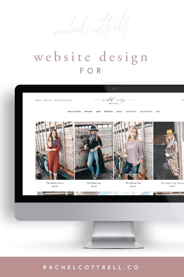 Website design for Wild Rag Boutique by Rachel Cottrell of The Bloom Design Company   #websitedesigner #squarespace #websitedesign #graphicdesigner #onlineboutique #onlineshopping #westernfashion #bohowestern #mobileresponsive #creativebusiness #mycreativebiz #womeninbusiness #bossbabe #girlboss