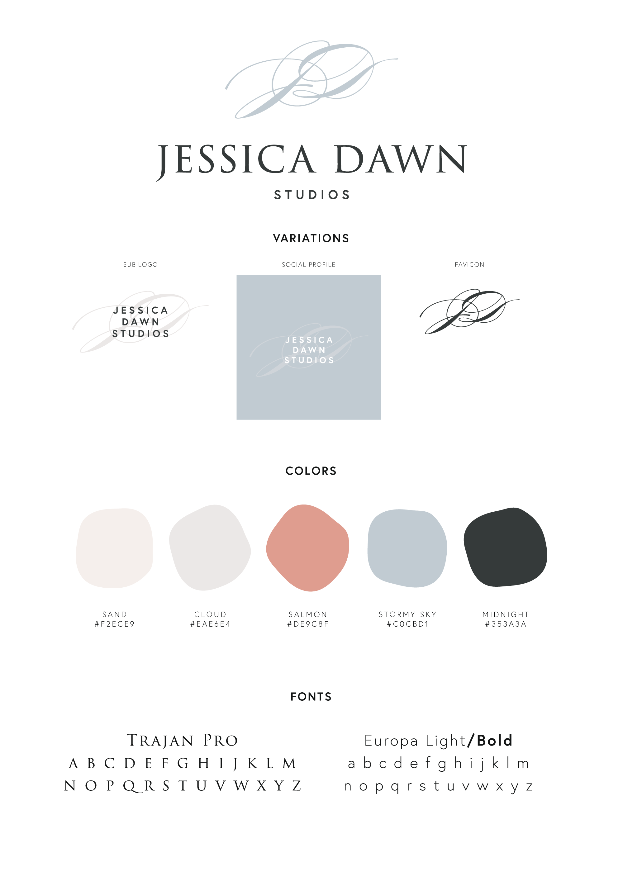 Brand guide designed for Jessica Dawn Studios by Rachel Cottrell with fonts, colors, and logo variations for easy reference | #graphicdesigner #branddesign #weddingphotographer #romanticweddingphotos #modernbrand #moodboard #photogbranding #branding #familyphotographer #creativebusiness #mycreativebiz #womeninbusiness #bossbabe #girlboss