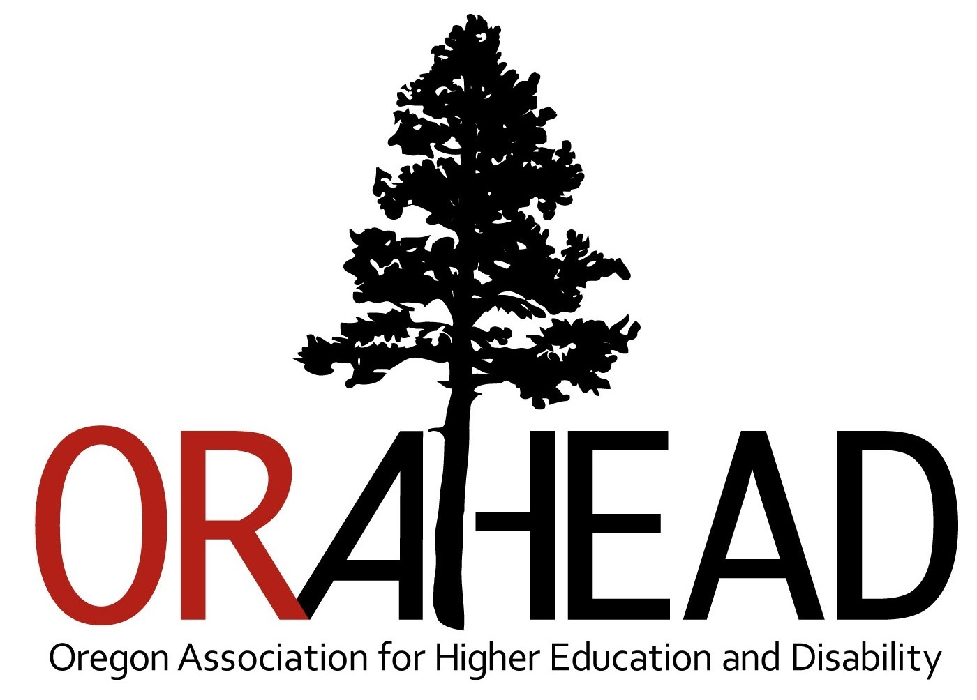 ORAHEAD Logo, Featuring a Pine Tree and the Full Name of the Organization, Oregon Association for Higher Education and Disability