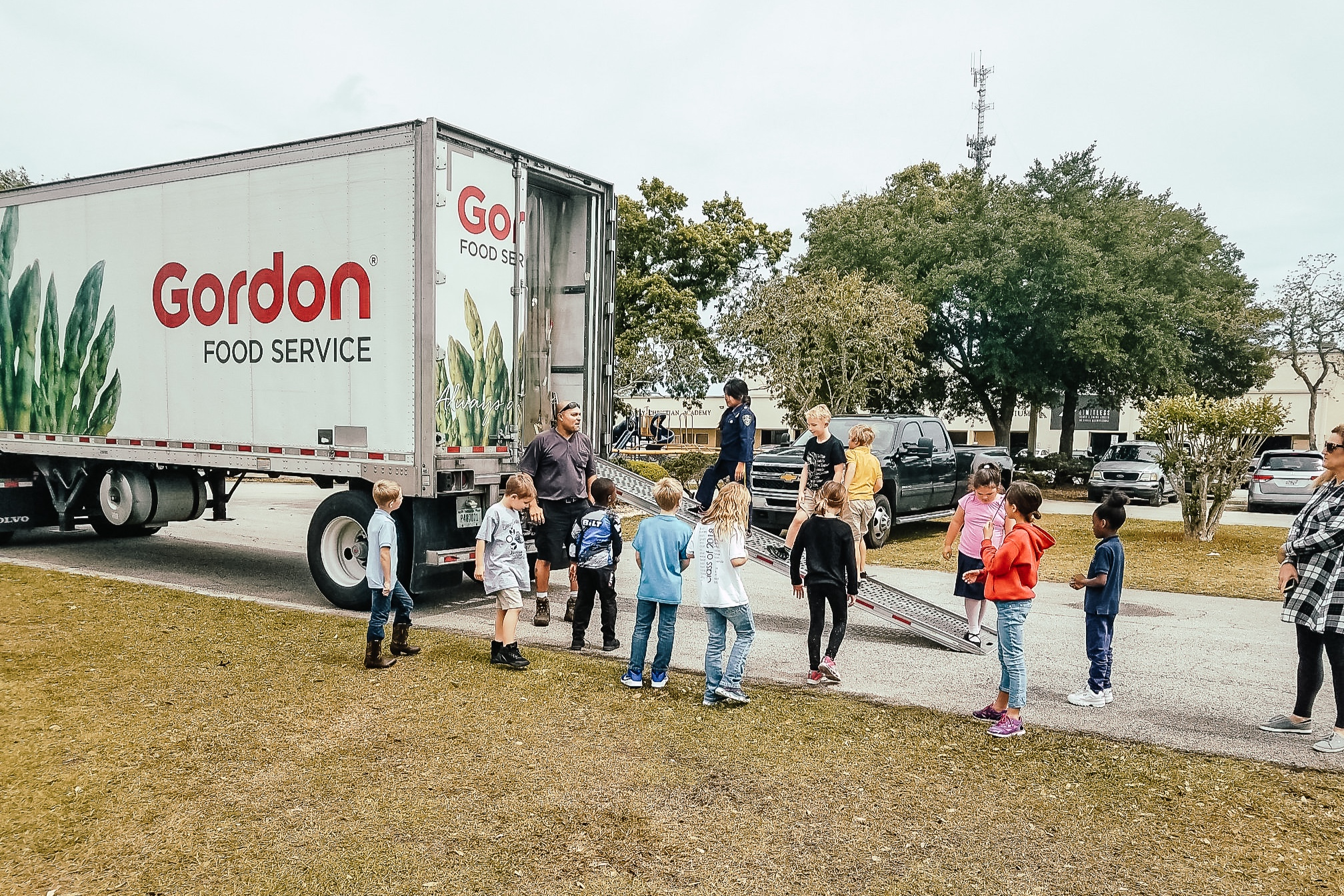 Elementary Students Touring a Food Service Truck