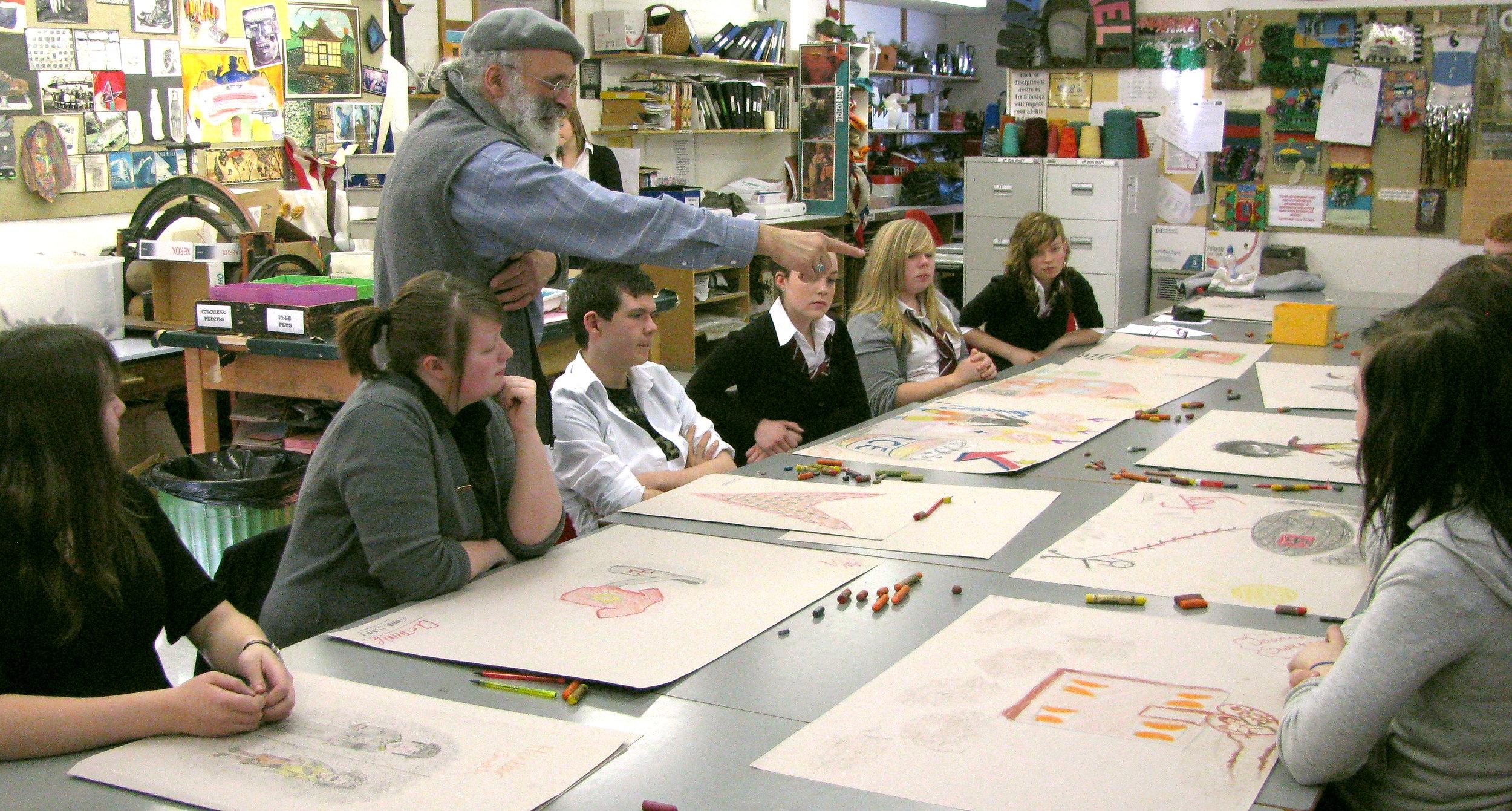 Segan facilitating a workshop at Forfar Academy, a state secondary school, Scotland, January 2009.