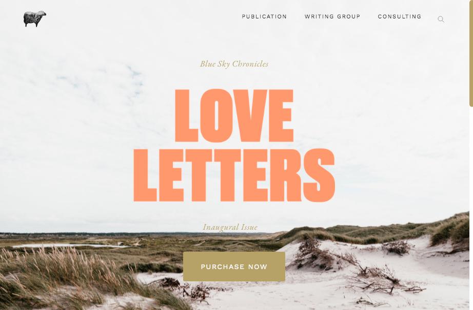 Blue Sky Black Sheep website, designed by Alex Cohen