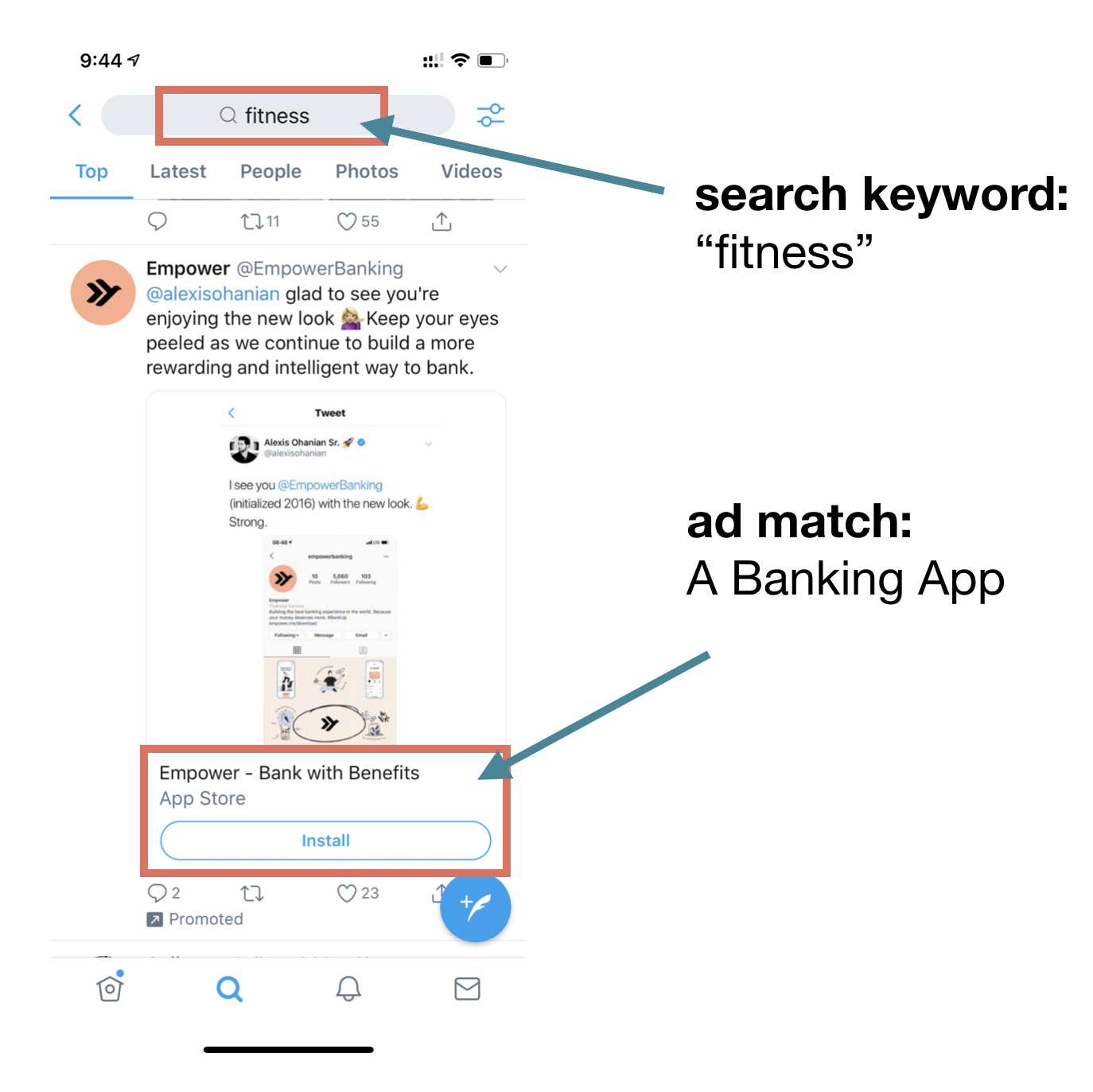 Twitter enables marketers to surfaces app install ads based upon various targeting criteria.