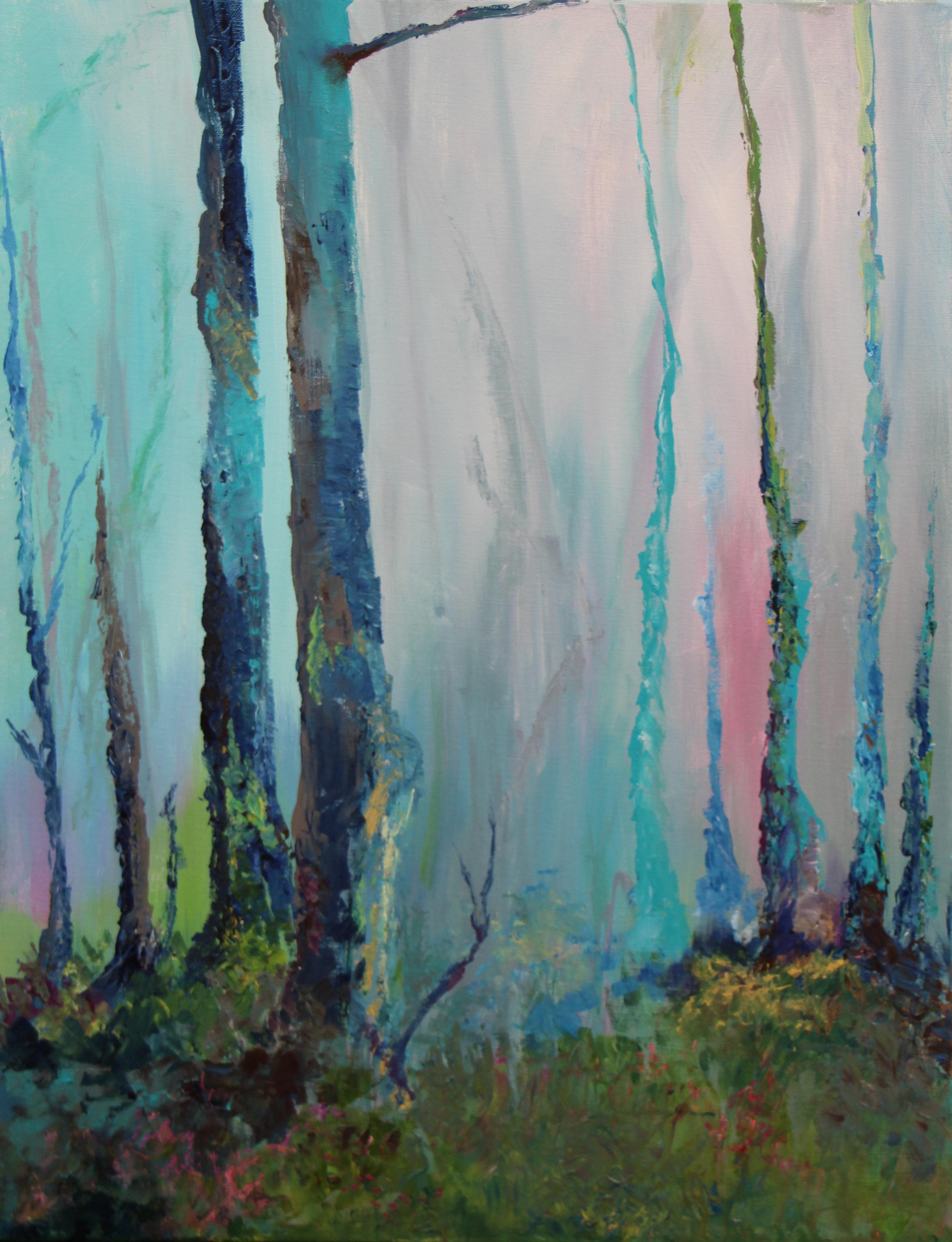 """Misty forest - Acrylic on canvas22"""" x 28"""""""