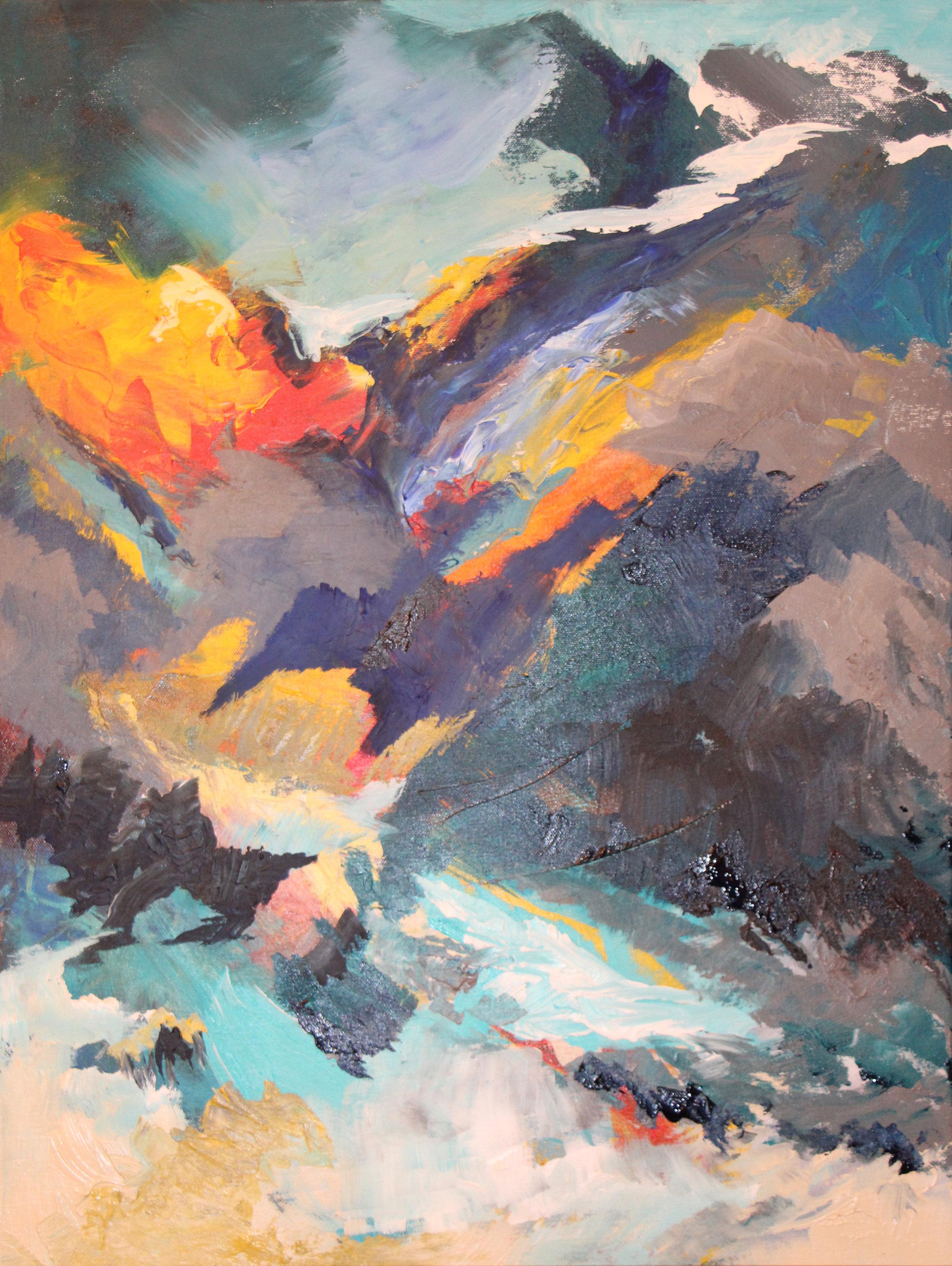 """Spring melt - Acrylic on canvas22"""" x 28"""""""