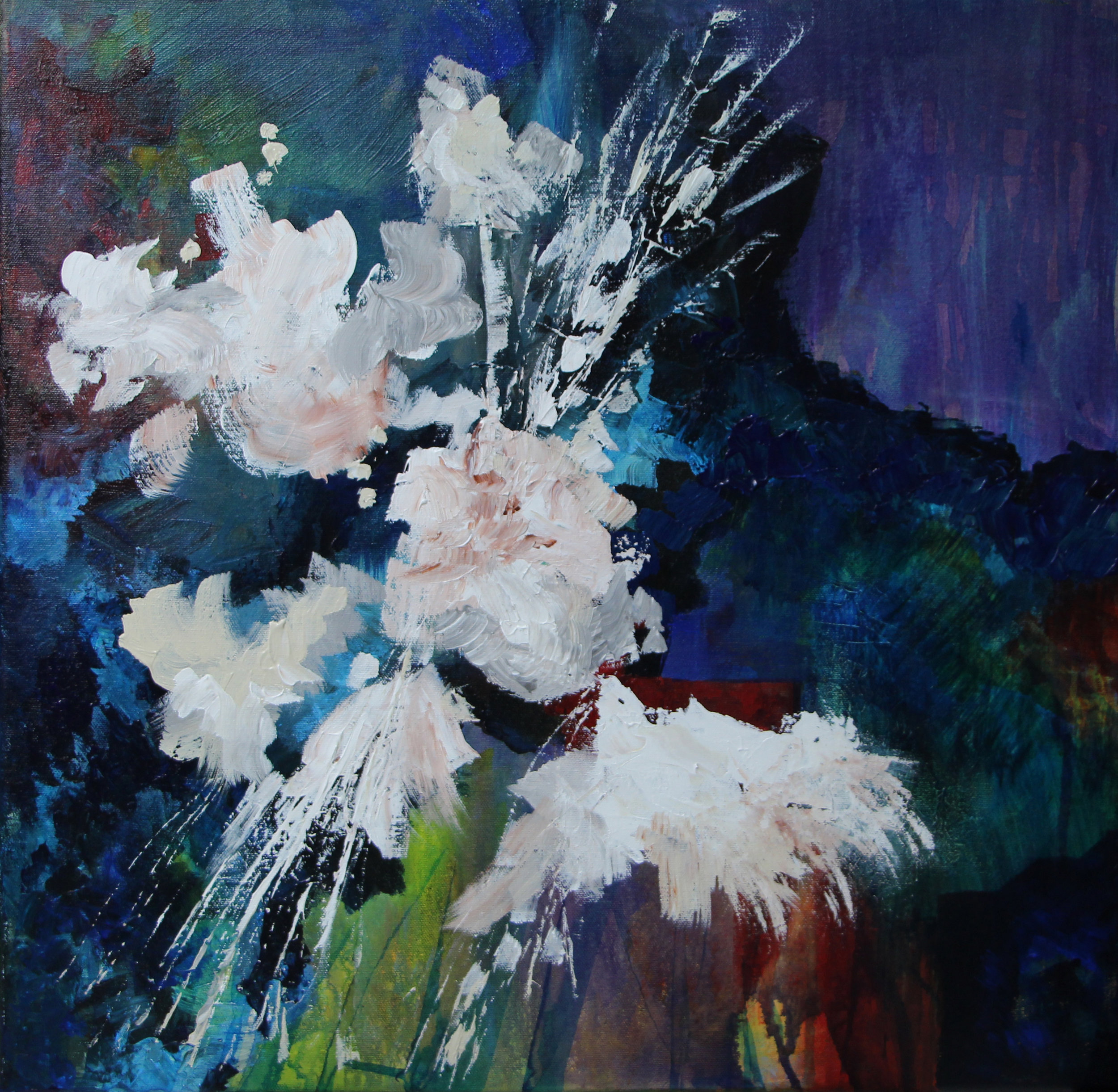 "White blooms - Acrylic on canvas24"" x 24""sold"