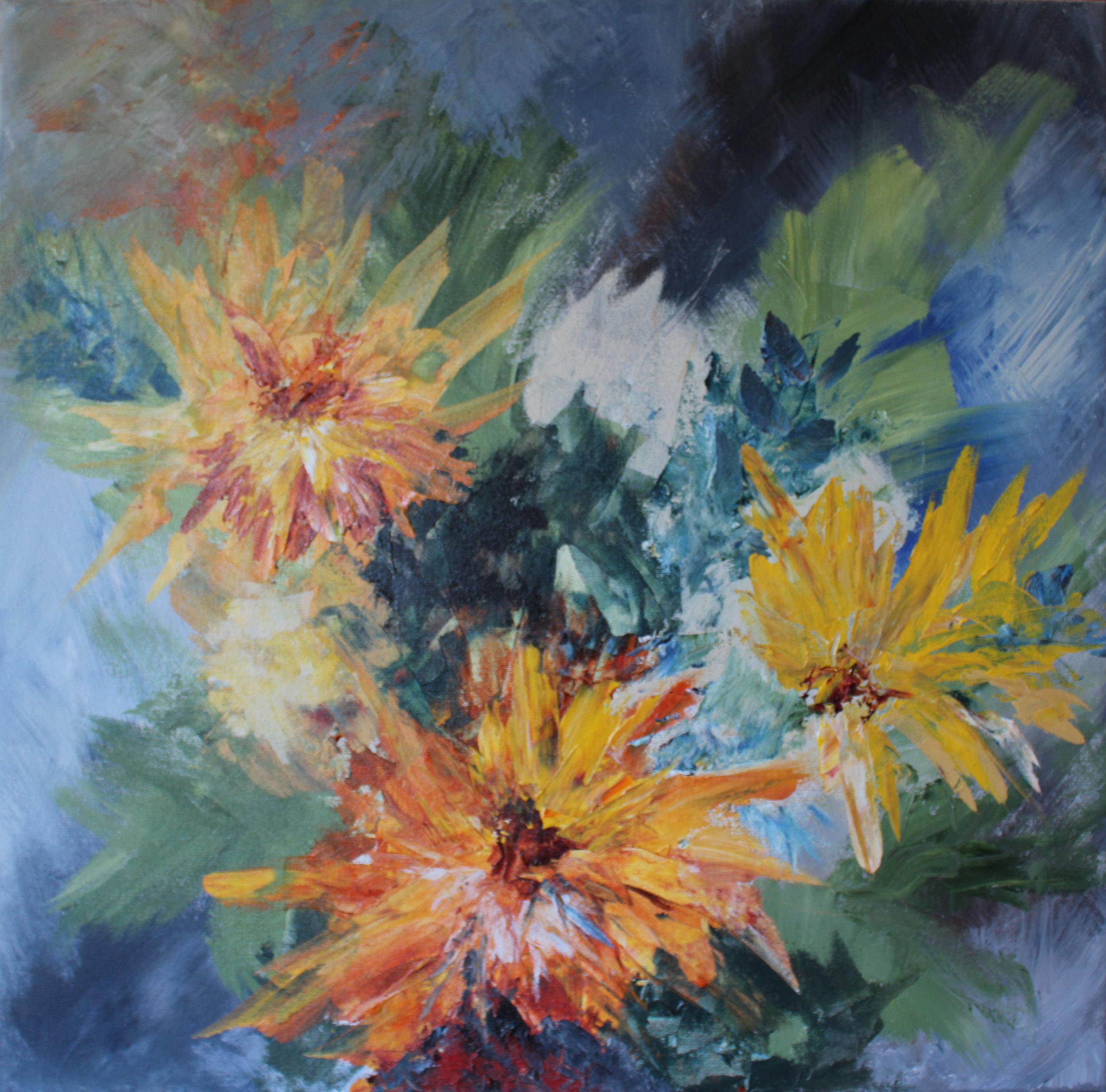 """Zinnias - Acrylic on canvas24"""" x 24"""""""