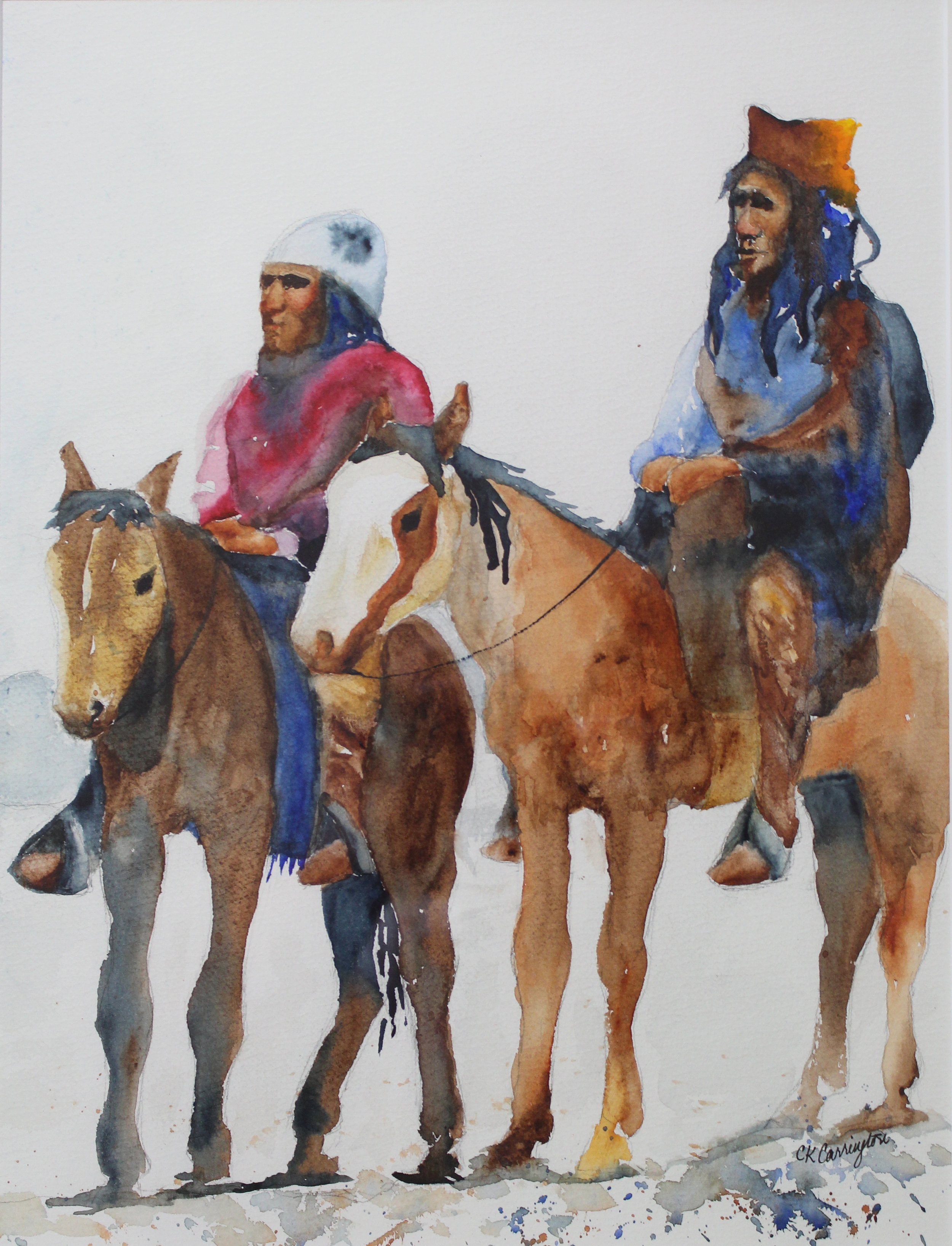 """Apache scouts - Watercolor on paper18"""" x 24""""framedfrom a photo by Edward S Curtispainted in a class with Charles Reid"""