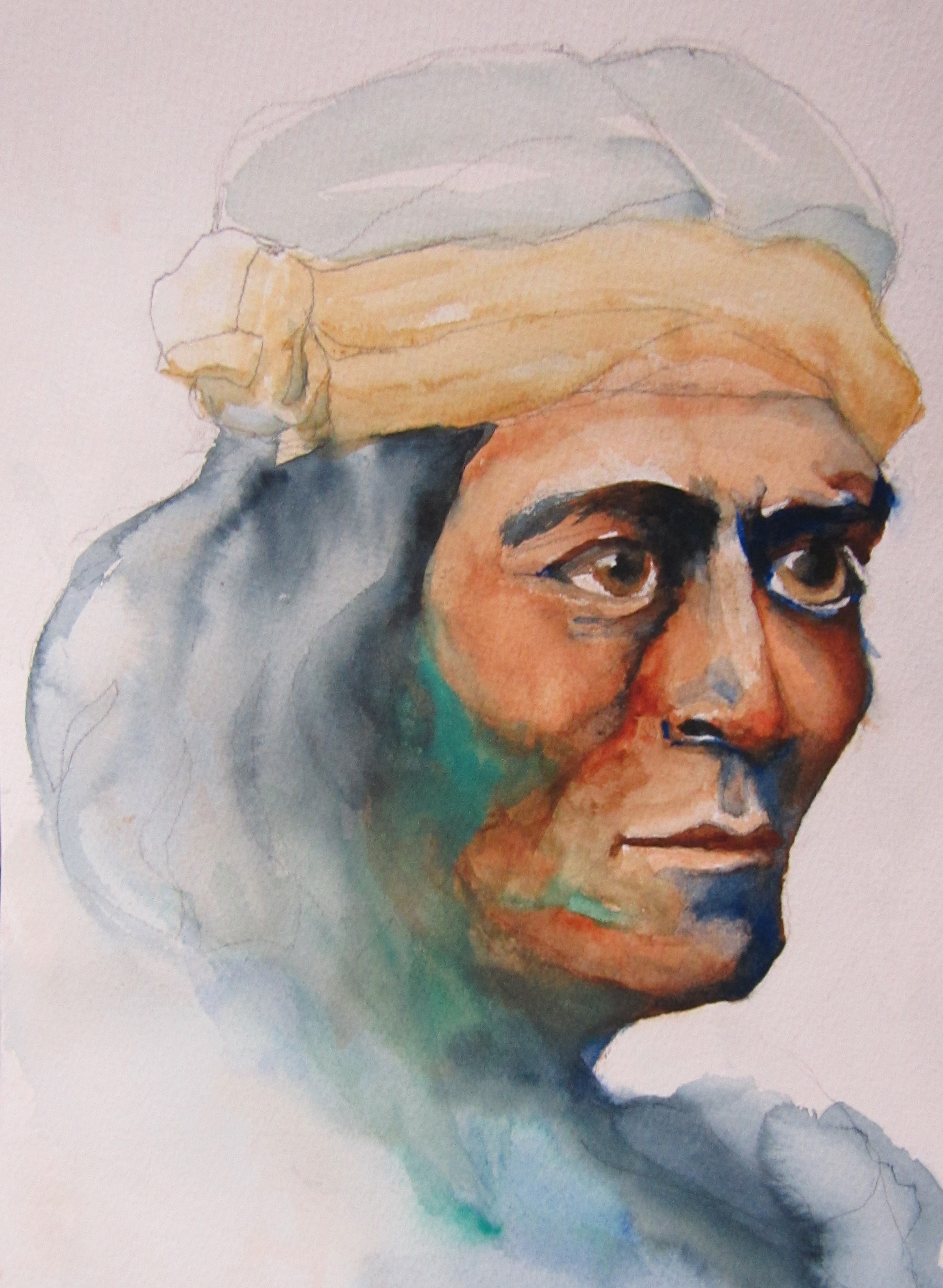 """ZUNI - Watercolor on paper12"""" x 12""""from a photo by Edward S Curtis"""
