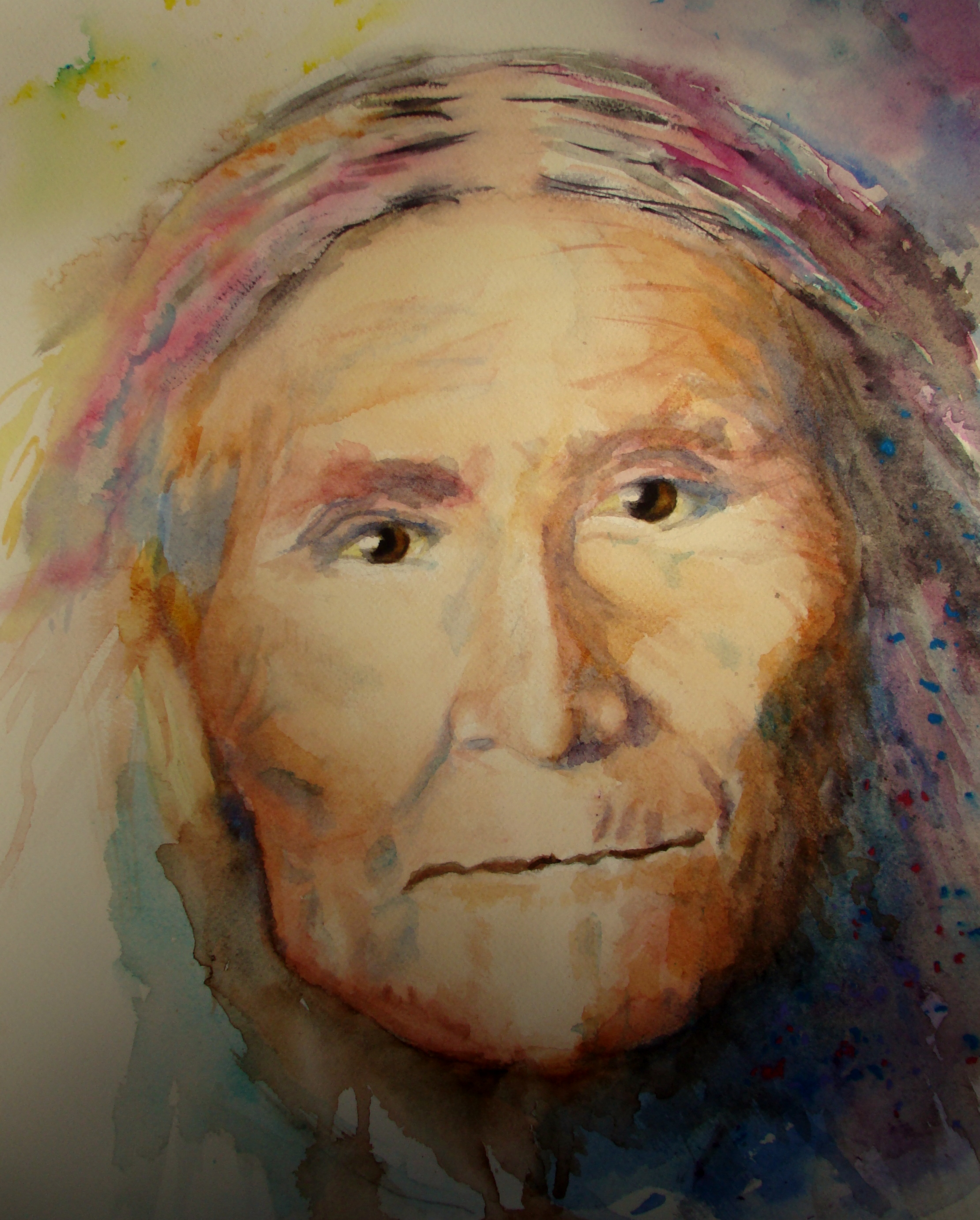 """Geronimo - Watercolor on paper14"""" x 18""""from a photo by Edward S Curtis"""