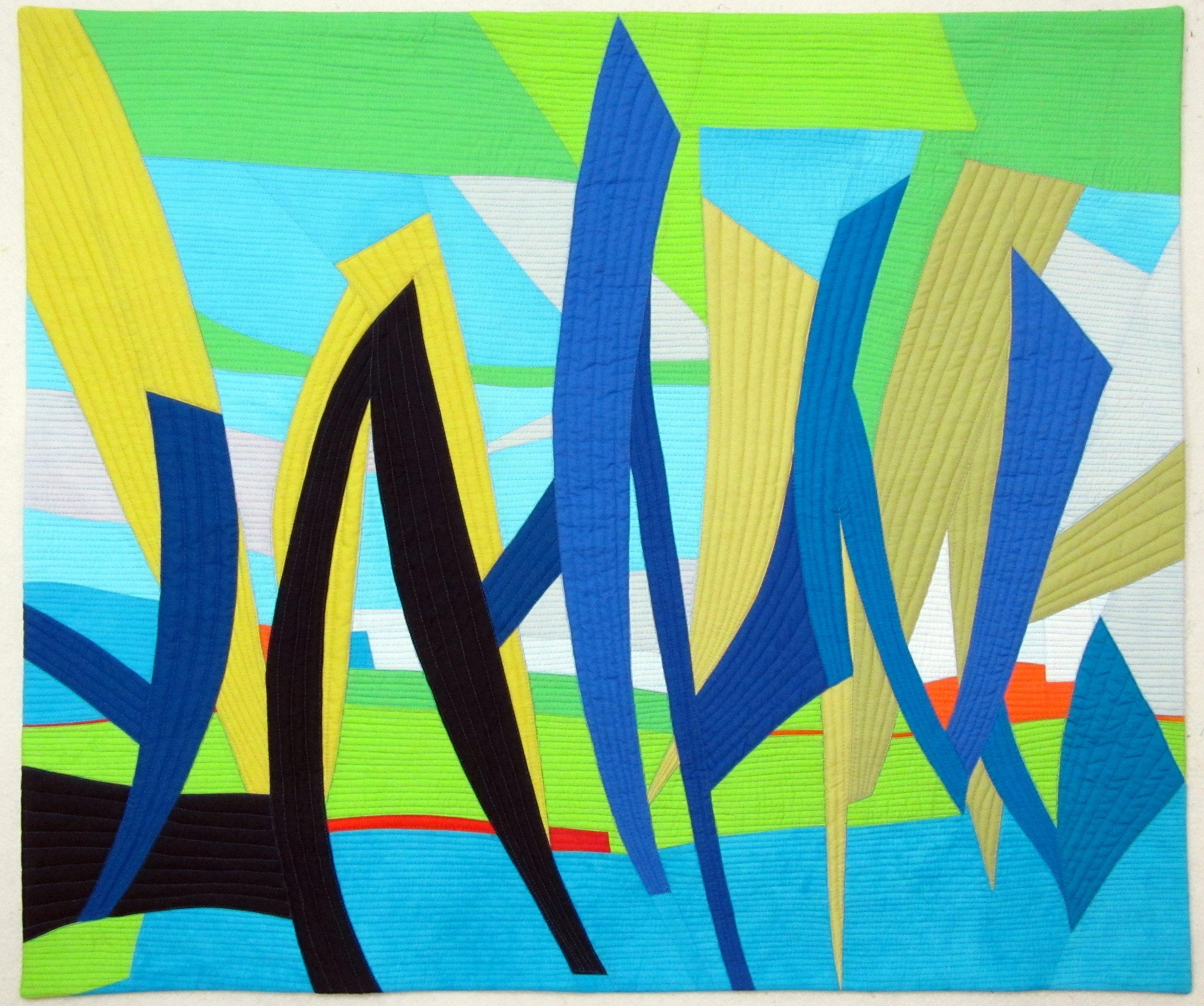 "Paint 3: anticipation - Hand-dyed cottonsMachine pieced & quilted40"" x 34""2013 SAQA Region AK-LA-MS-AL Southern Voices"
