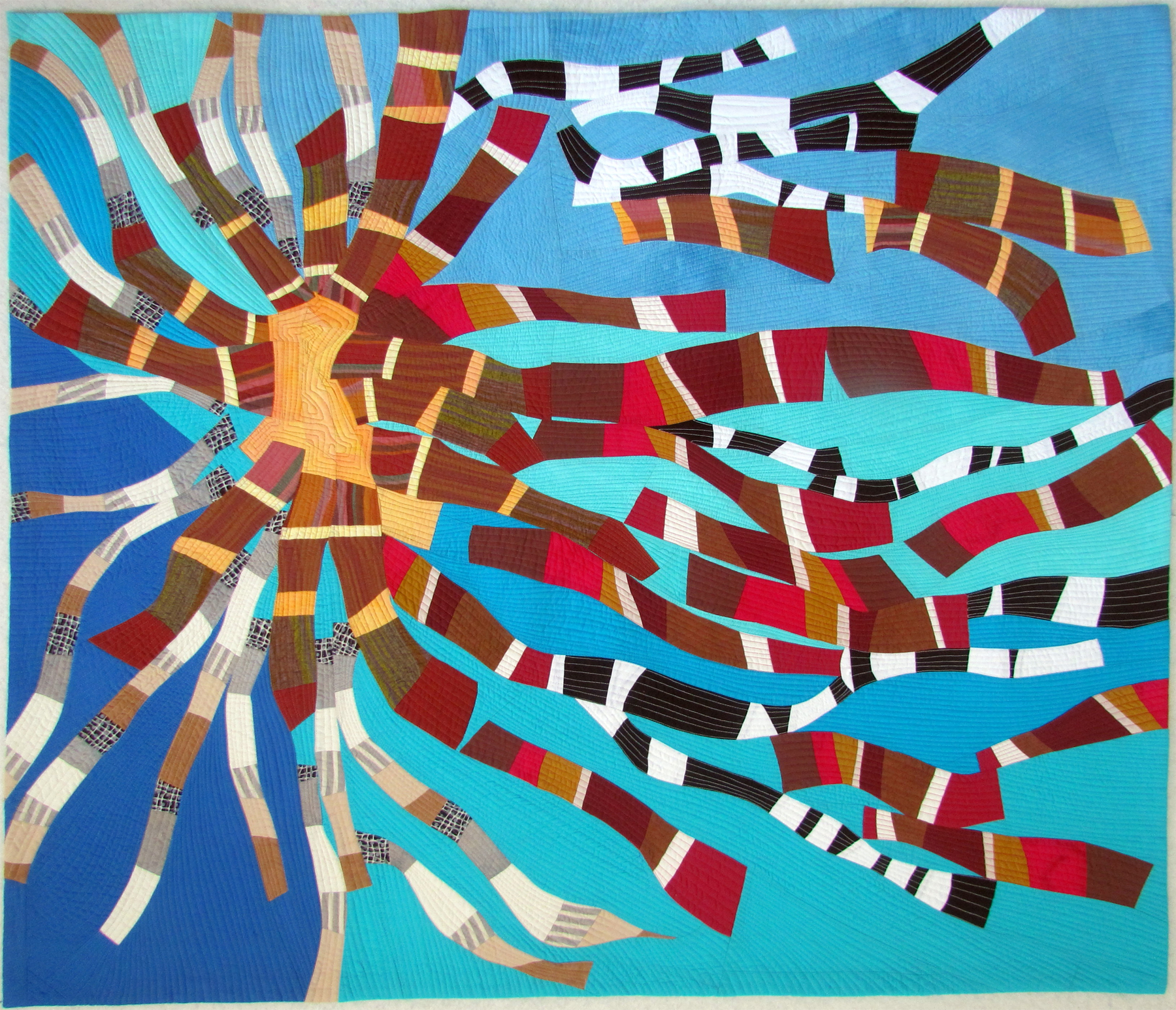 """Ribbons 3: solar wind - Hand-dyed & commercial cottonsMachine pieced & quilted45"""" x 55""""sold"""