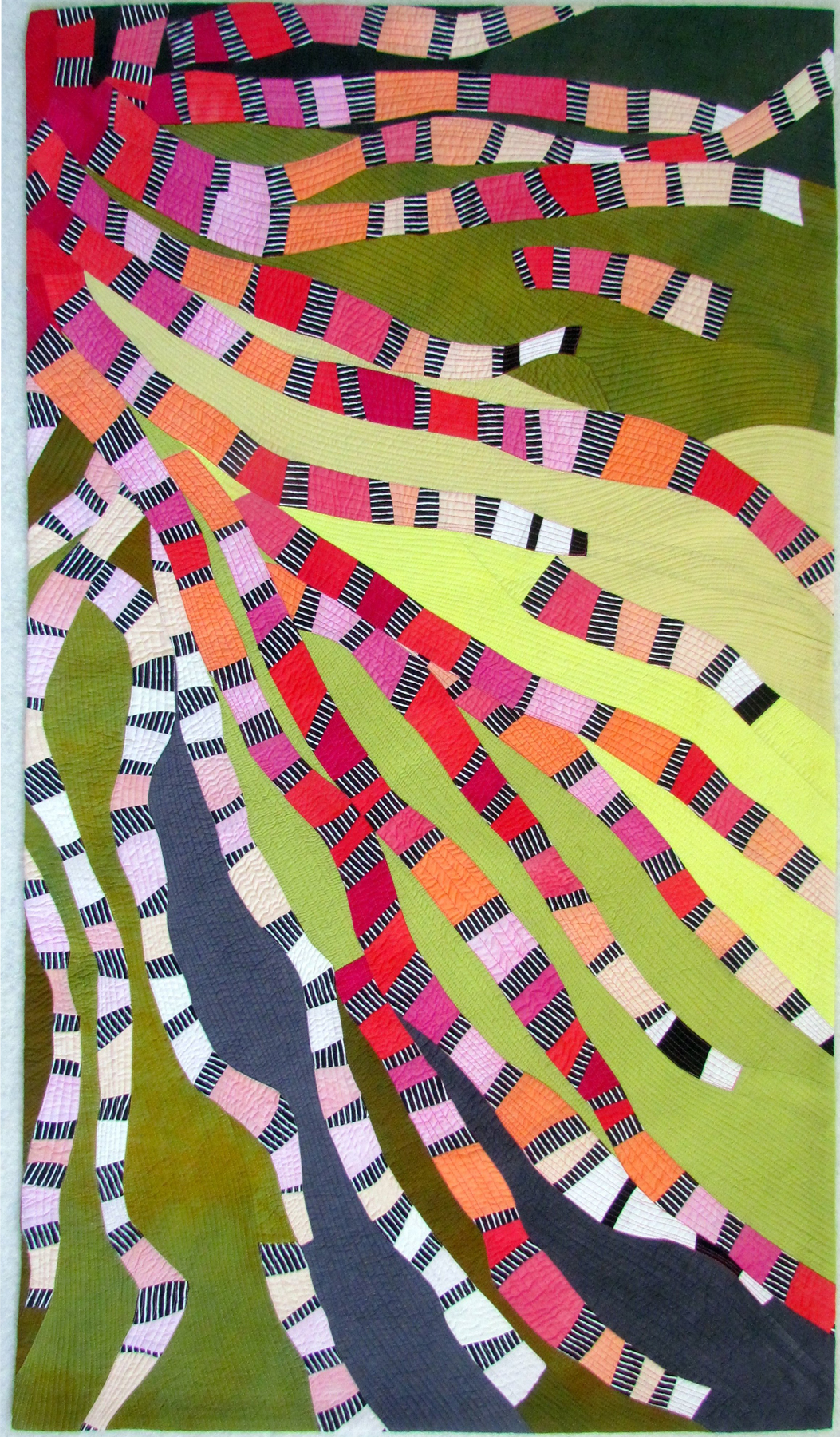 """ribbons 4 - Hand-dyed & commercial cottonsMachine pieced & quilted60"""" x 45""""sold"""