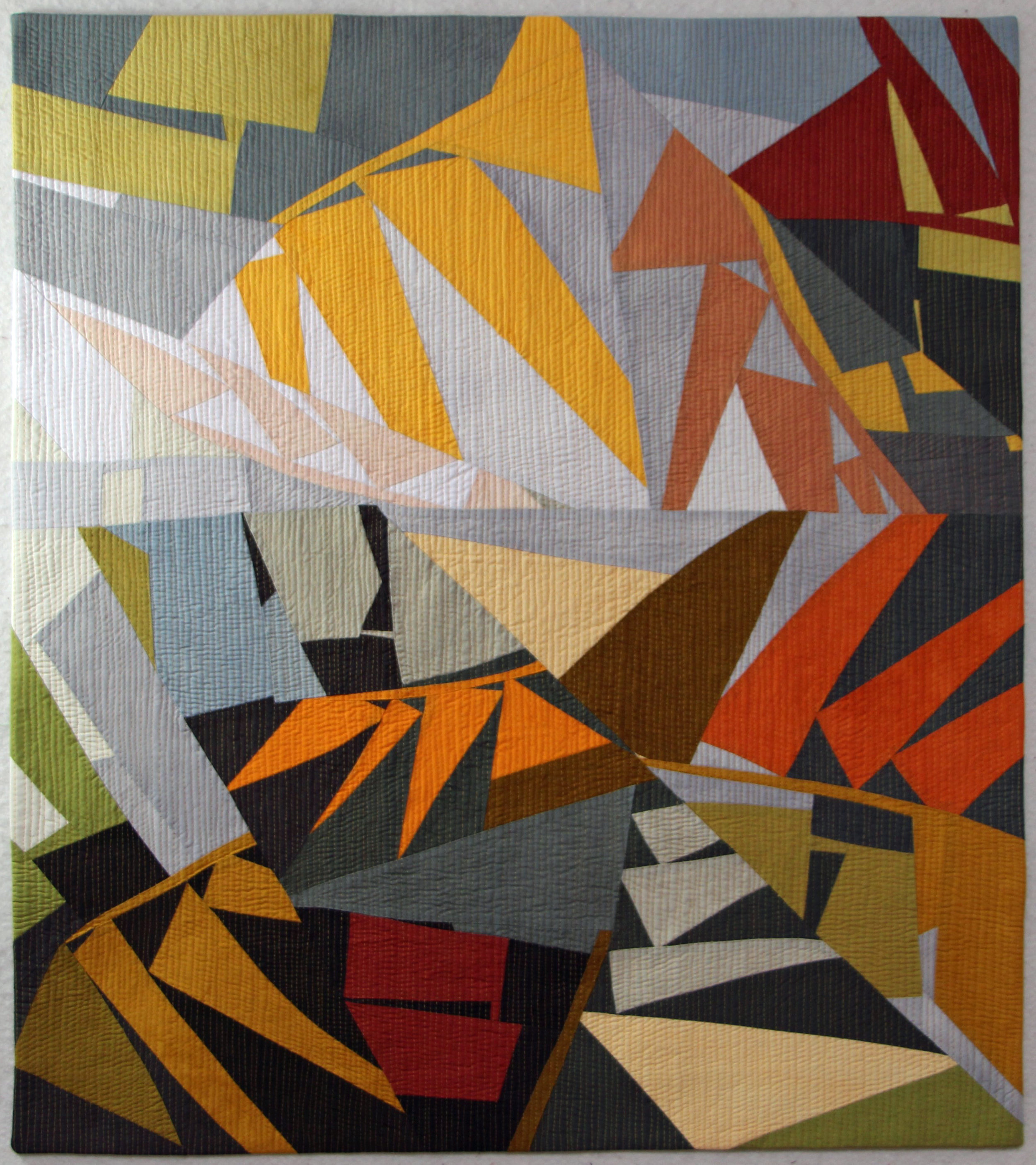 """jungle - Hand-dyed cottons machine pieced & quilted28.5"""" x 33""""Sterling Gallery, Silver City, NM Oct-Nov 2019"""