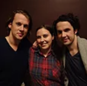 "Jennifer Croome with ""Ylvis"" duo, Bård and Vegard Ylvisåker. (Photo courtesy of Jennifer Croome)"
