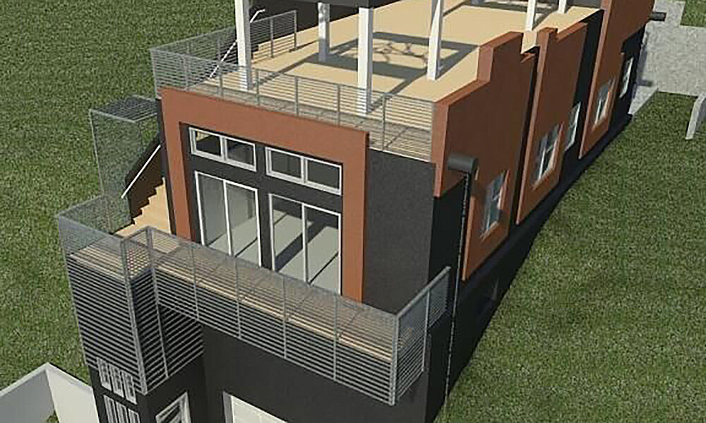 Veil Residence - Los Angeles, CAStructural design on this new (1,843 sq. ft.) two story residence with engineered wood joists. Type V construction at 2nd floor and insulating concrete forms at lower floor/garage walls. Soldier pile retaining walls at back property line. Winner of the