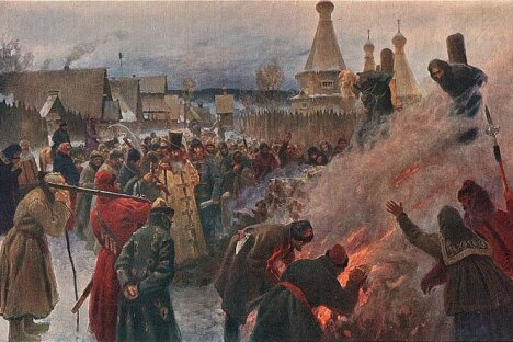 The burning of the Old Believer leader Avvakum (Petrov) in 1682.