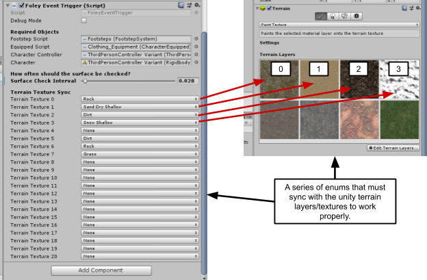 """When applying to your own project, ensure to correctly sync the Foley surface terrain triggers with the Unity terrain system as shown above. It's also possible to set the interval time for checking the terrain surface. This is also possible on the  """"Raycast_SurfaceCheck""""  prefab for game object surface checking."""