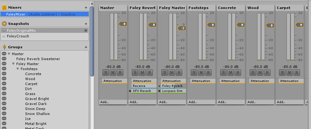 All surfaces are grouped under the Footsteps group, while all clothing materials are grouped under clothing, and accessories grouped under equipment. All these groups can be controlled via the master group called Foley Master. This makes it much easier to balance and mix the character Foley sounds together.