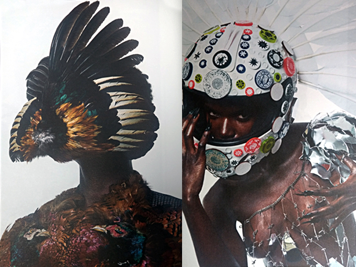 Bird wing mask and customised helmet by Claire Strickland. Commissioned by stylist Seta Niland, photographed by Ram Shergill for The Protagonist Magazine.