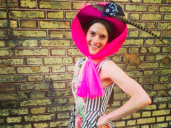 Saturated neon pink 'Emmeline' hat by Claire Strickland. Created for a collaboration project 'The Suffragettes : Millennial Rebels' with wet plate collodion artist Nicolas Laborie.