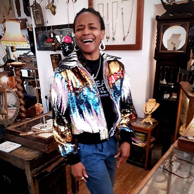 Florence modelling her sparkly Ali Wall creation!  Sequin bomber jacket in multicoloured bling!