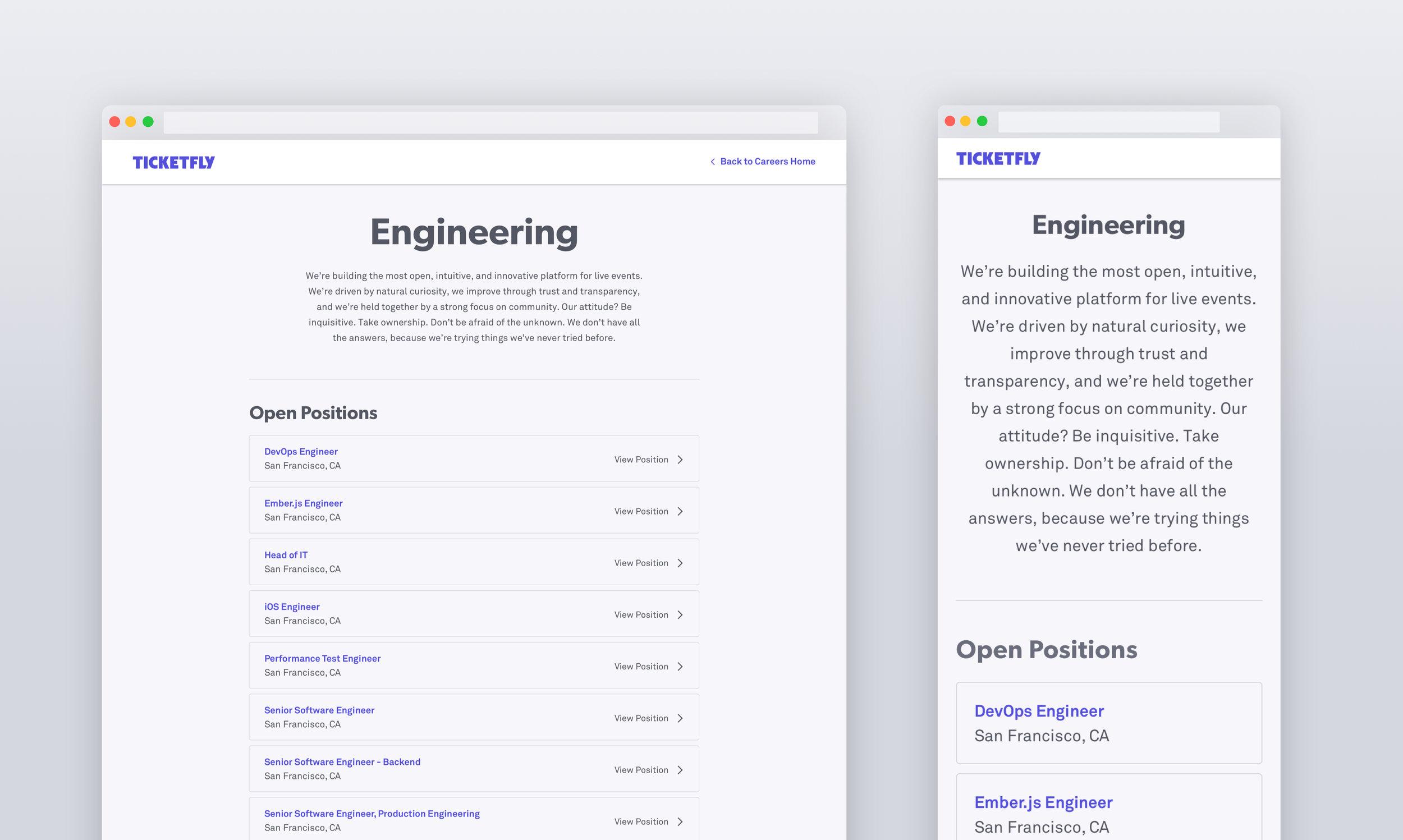 Web & mobile web department pages