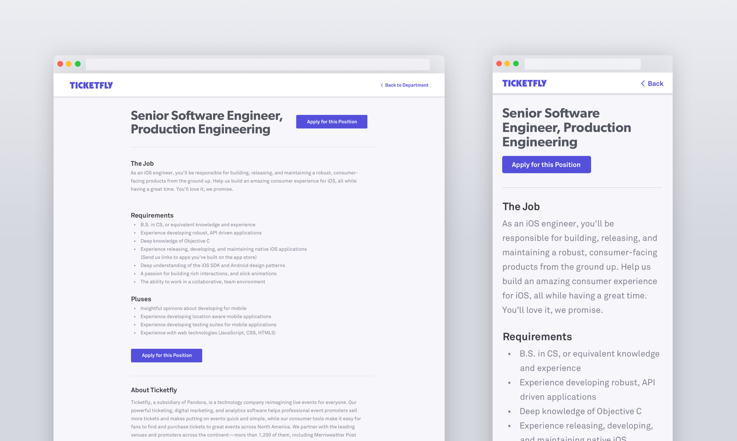 Web & mobile web job detail pages