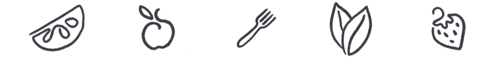 Atlanta Lunch Co. Orange, Apple, Fork, Leaf and Strawberry Illustrations