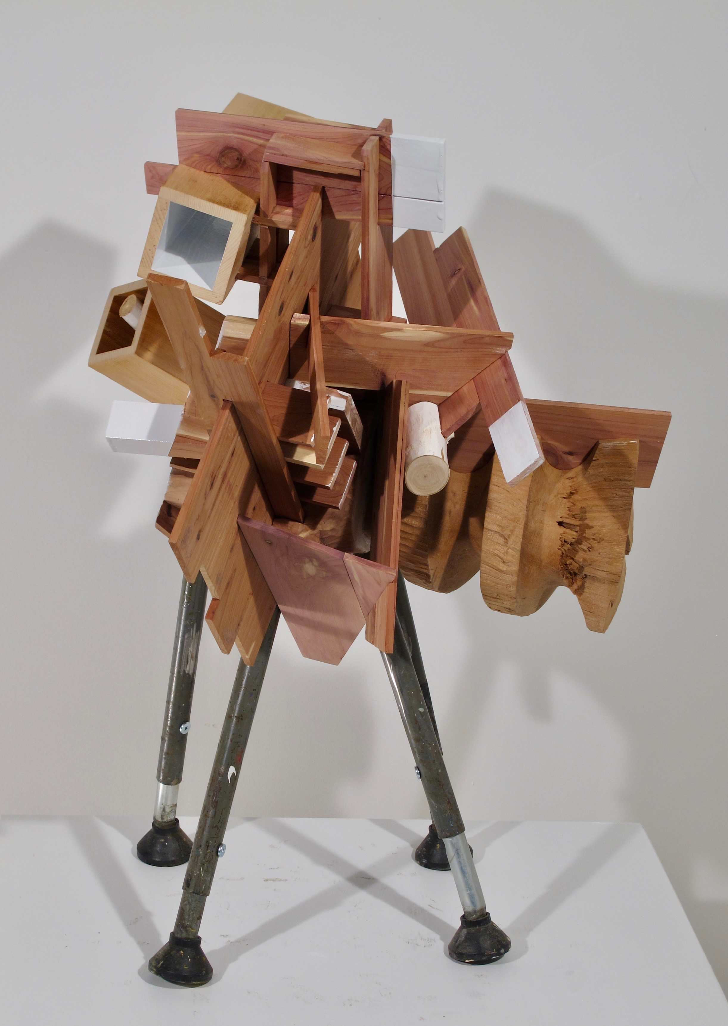 """Spring,  2019   wood, steel, rubber 27"""" x 17"""" x 17"""""""