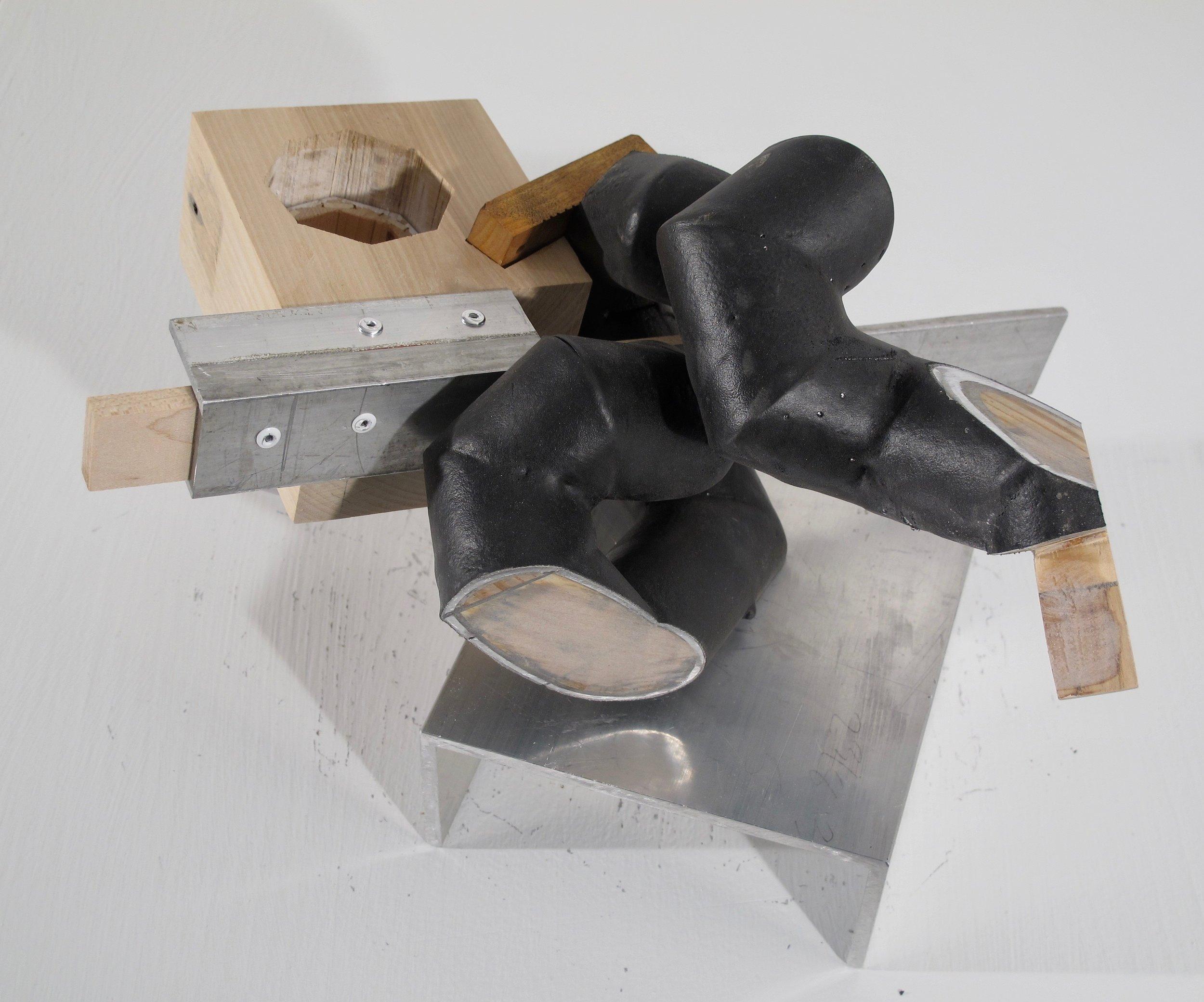 "Maquette 6 , 2019   aluminum, wood, rubber 8"" x 11"" x 12"""