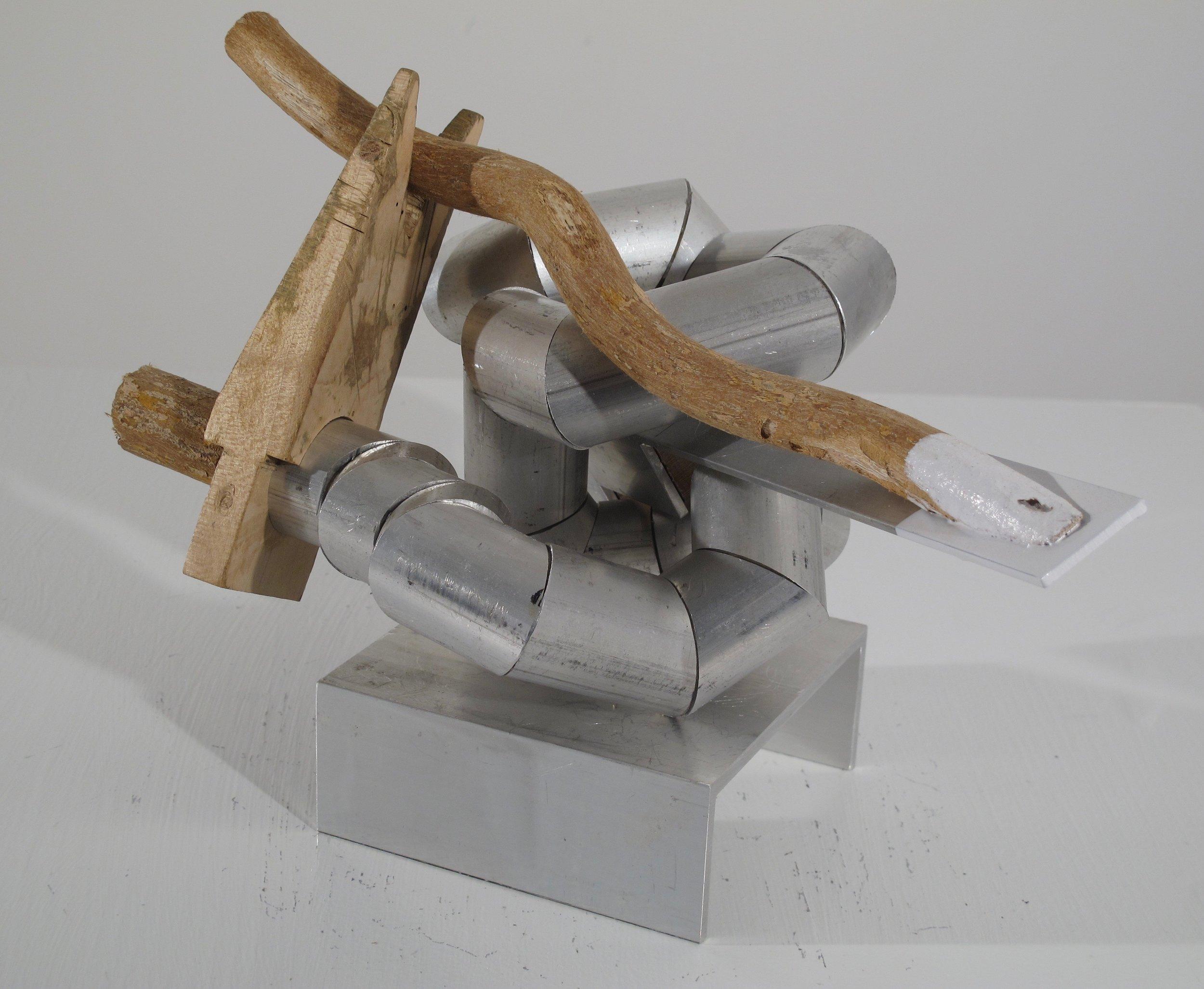 """Maquette 8 , 2019   aluminum + wood 9"""" x 10"""" x 12.5"""""""