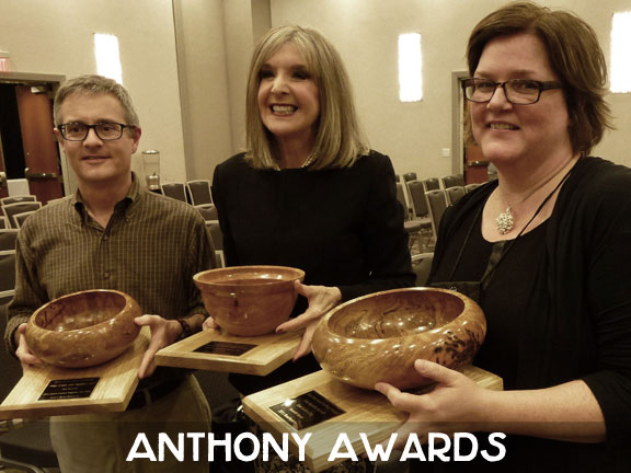 Three of this year's Anthony winners: Art Taylor, Hank Phillippi Ryan, Lori Rader-Day. The Anthony Awards were voted on by attendees and announced on the last evening of the convention.