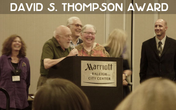 Another award given out during the ceremony was the David S. Thompson Award, presented by the Bouchercon Board to recognize extraordinary efforts to develop and promote the mystery and crime fiction community. Bill and Toby Gottfried were given this year's award. The Gottfrieds live not far from me, so I'm lucky I get to see them on a semi-regular basis at Janet Rudolph's Literary Salons.