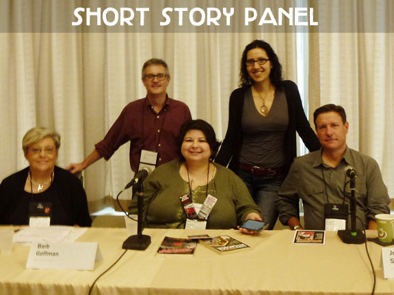 "Harriette Sackler (moderating), Art Taylor, Barb Goffman, Gigi Pandian, John Shepphird.    I spoke on a short story panel along with three of the authors up for Anthony awards for Best Short Story this year, so as you can imagine, we had a great discussion. We talked about the rising interest in short fiction, what draws us to this form, the craft of writing short stories, favorite stories that inspired us, and of course I brought up my love of  locked-room ""impossible crime"" short stories ."