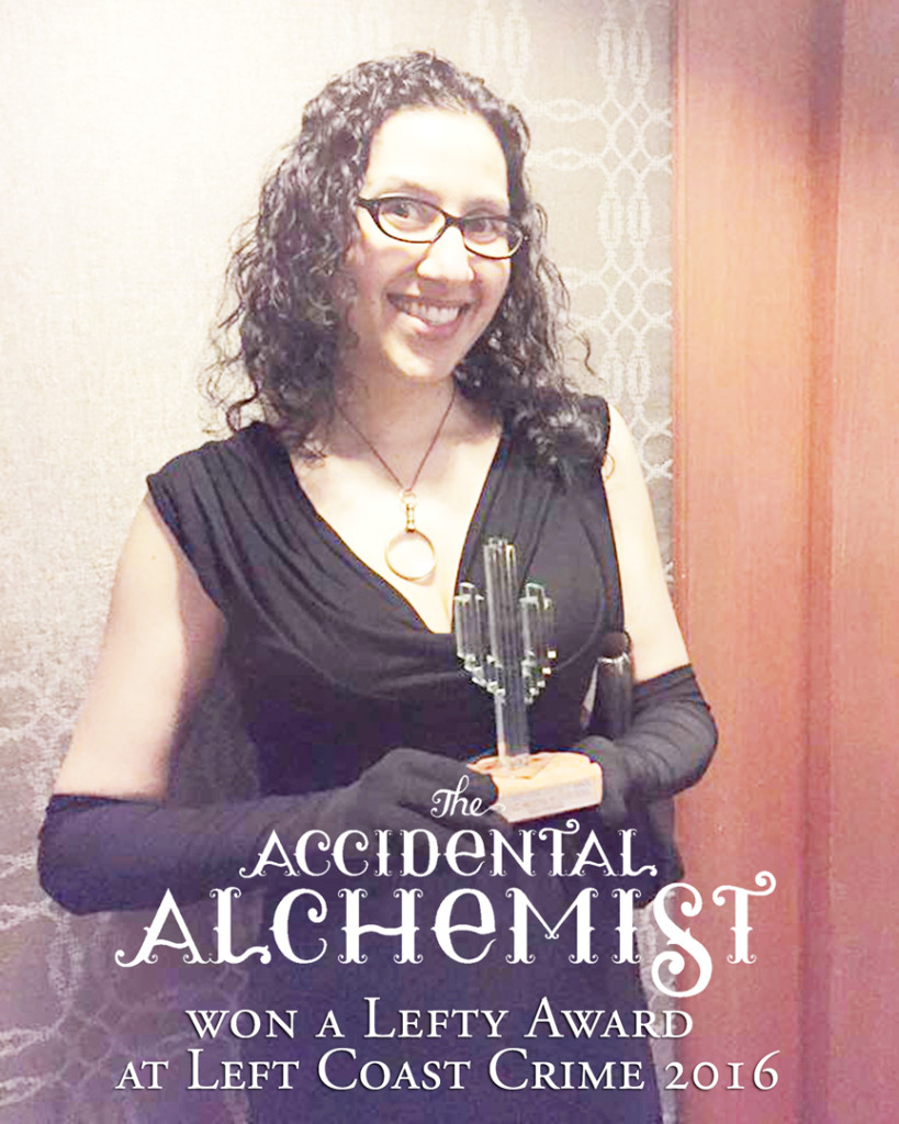 With my Lefty Award for The Accidental Alchemist