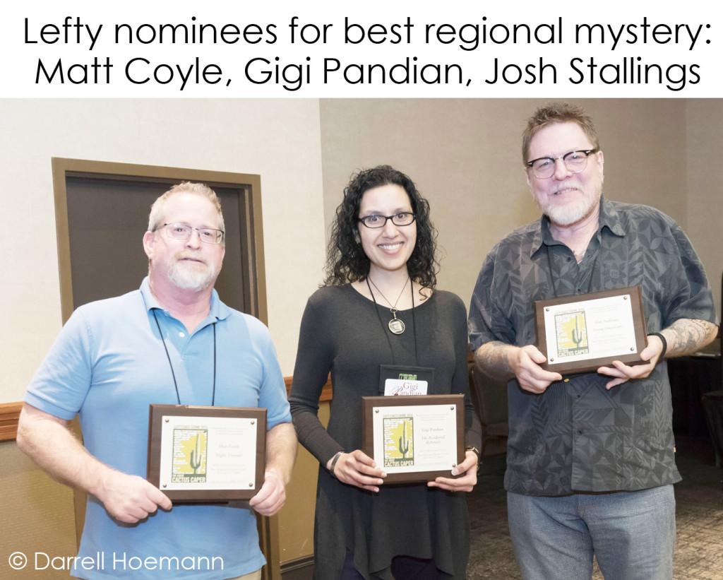 Lefty nominees Matt Coyle, Gigi Pandian, Josh Stallings