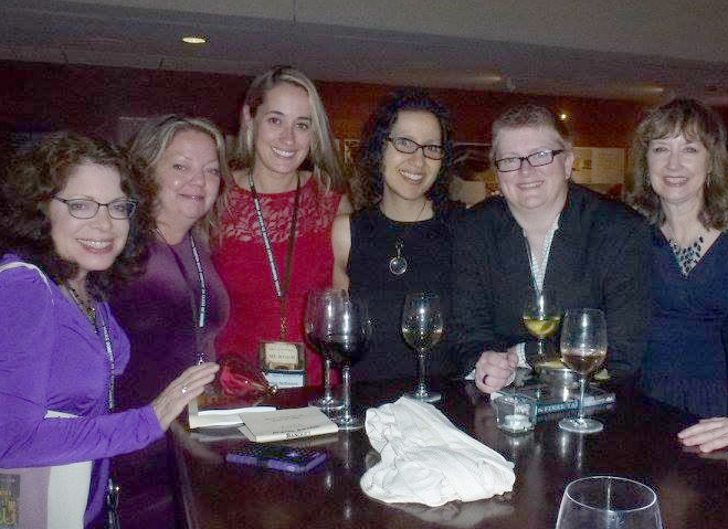 At the Malice hotel bar with Ellen Byron, Shawn Reilly Simmons, Nadine Nettmann, Terri Biscoff, Annette Dashofy.