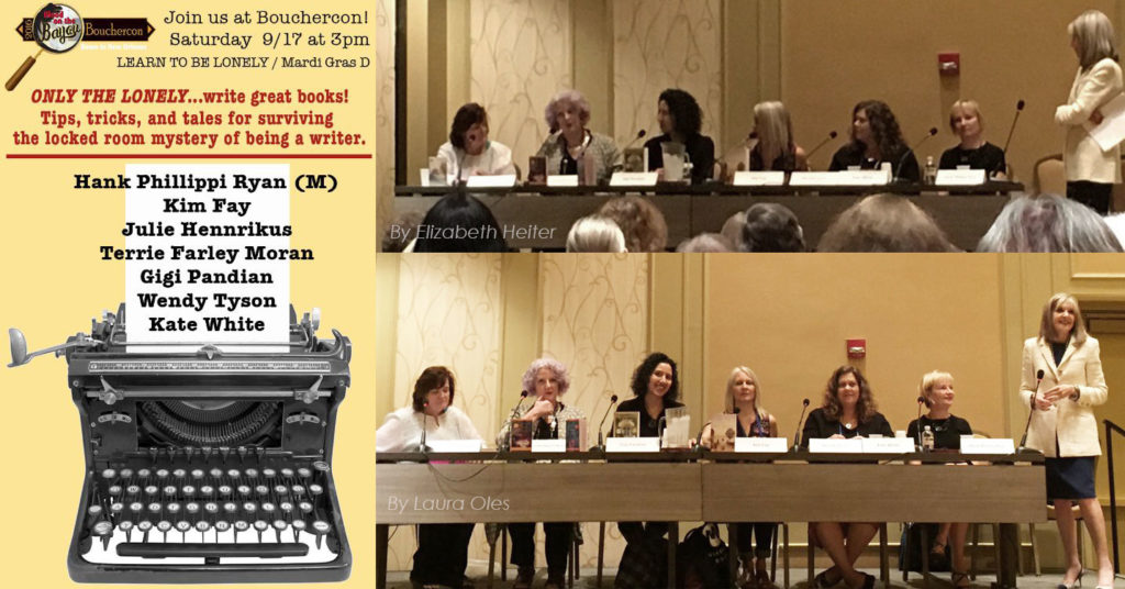 My own panel was a discussion of the solitary process of writing a novel, and it was so interesting to chat about how  different  each of our processes are! Learn to be Lonely panelists: Terrie Farley Moran, Julie Hennrikus, Gigi Pandian, Kim Fay, Wendy Tyson, Kate White, and moderator Hank Phillippi Ryan.