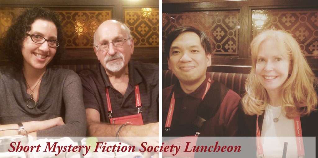 """I love short stories, especially locked-room """"impossible crime"""" mysteries, a genre most popular in Golden Age mysteries, but that I'm thrilled to see returning (more on that in a separate post). My lunch companions at the SMFS luncheon included cross-genre author Josh Pachter, Gerald So (who's involved in running the SMFS blog), and Shelly Dickson Carr (granddaughter of John Dickson Carr and a phenomenal writer in her own right)."""