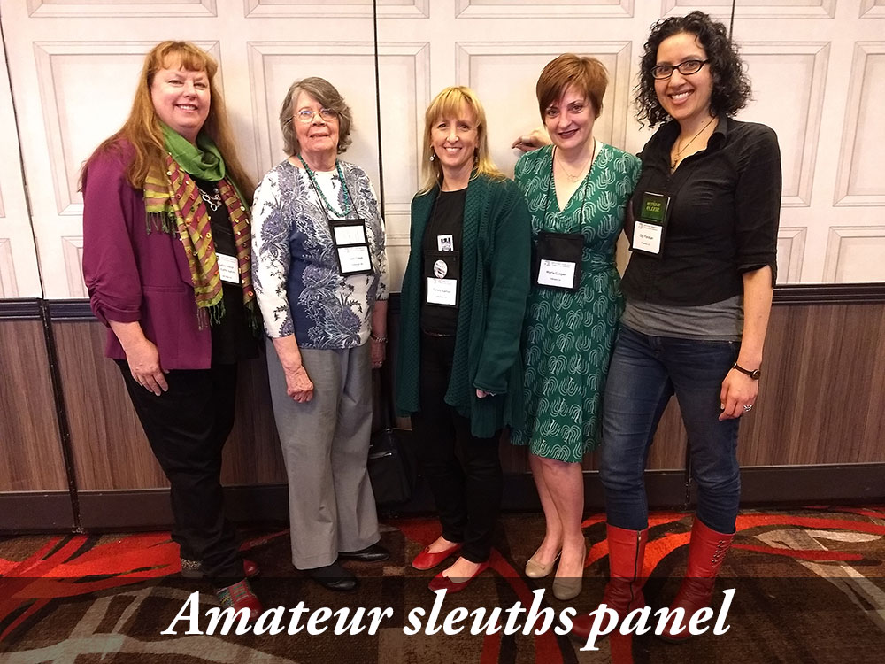Kathy Krevat/Aarons, Judy Copek, Tammy Kaehler, Marla Cooper, and me. (And of course I forgot to take a photo of my other panel, writing other cultures, with Jill Amadio, Dorothy Black Crow, Matthew Iden, and Bharti Kirchner.)