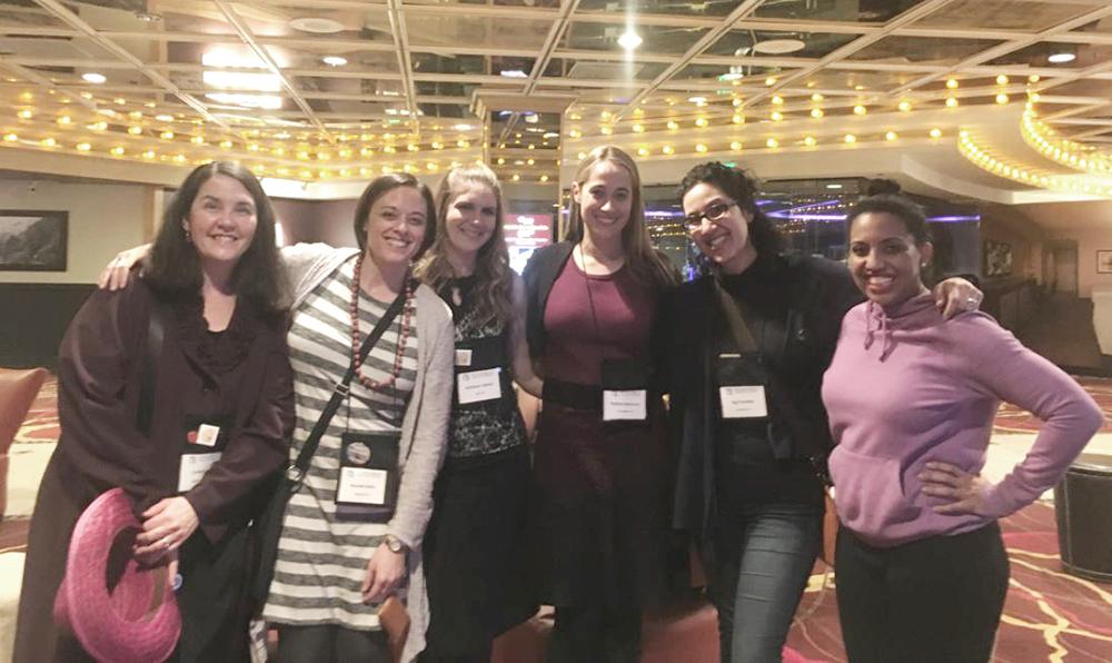 Catching up with these amazing women: Cynthia Kuhn, Mariah Klein, Kathy Valenti, Nadine Nettmann, (me), and Kellye Garrett.