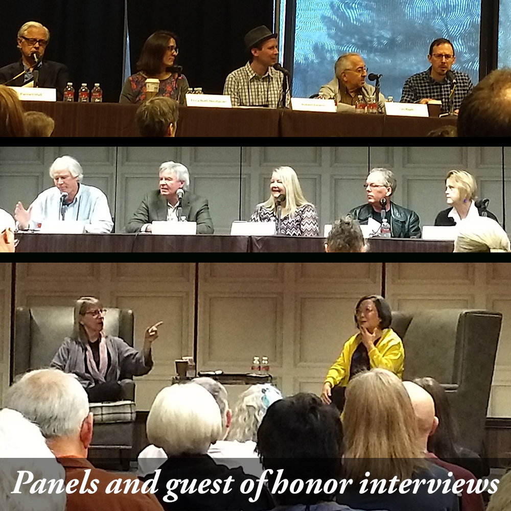 Top to bottom: bloggers and reviewers panel; short stories panel; and S.J. Rozan interviewing guest of honor Naomi Hirahara.