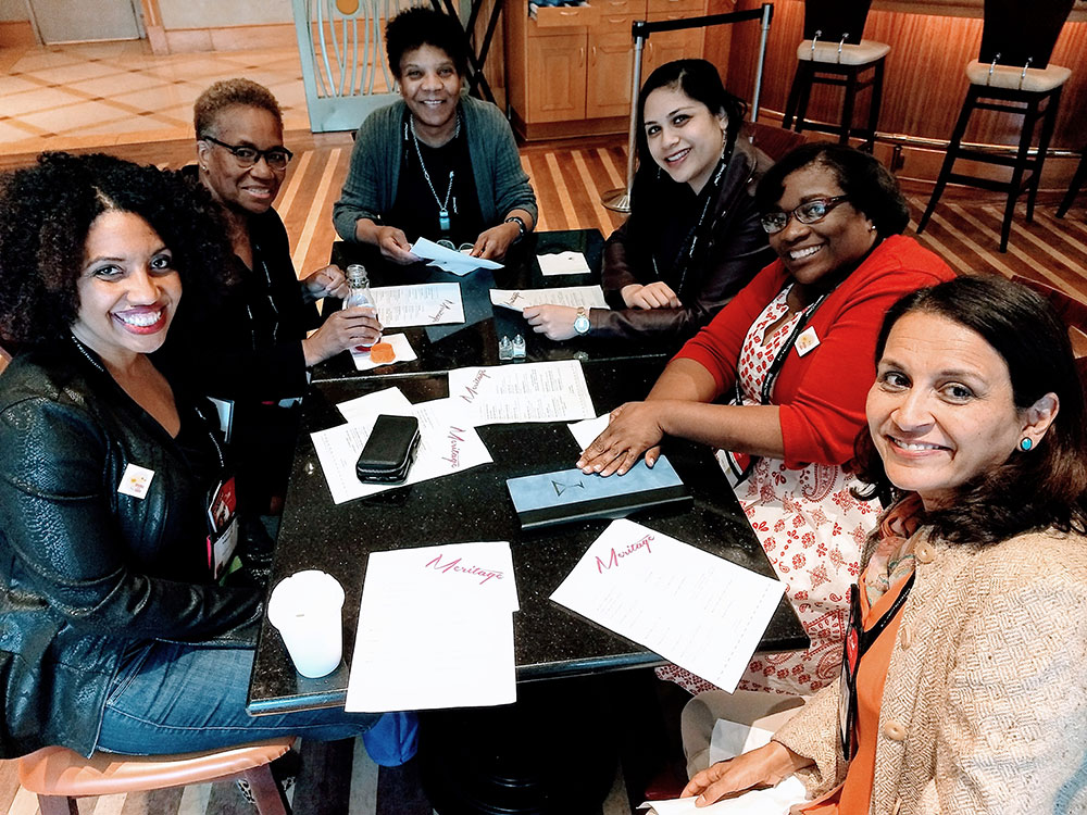 Meeting old friends and new at drinks with fellow writers of color. Kellye Garrett, Cheryl Head, Frankie Bailey, Mia Manansala, VM Burns, Sujata Massey. (Alexia Gordon, seen in the next pic below, joined us a little later.)