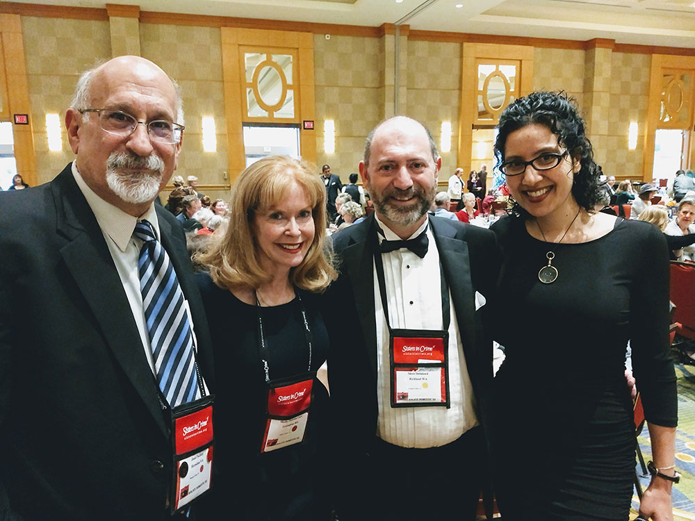 At the Agatha Banquet with fellow short story enthusiasts Josh Pachter, Shelly Dickson Carr, and Steve Steinbock.