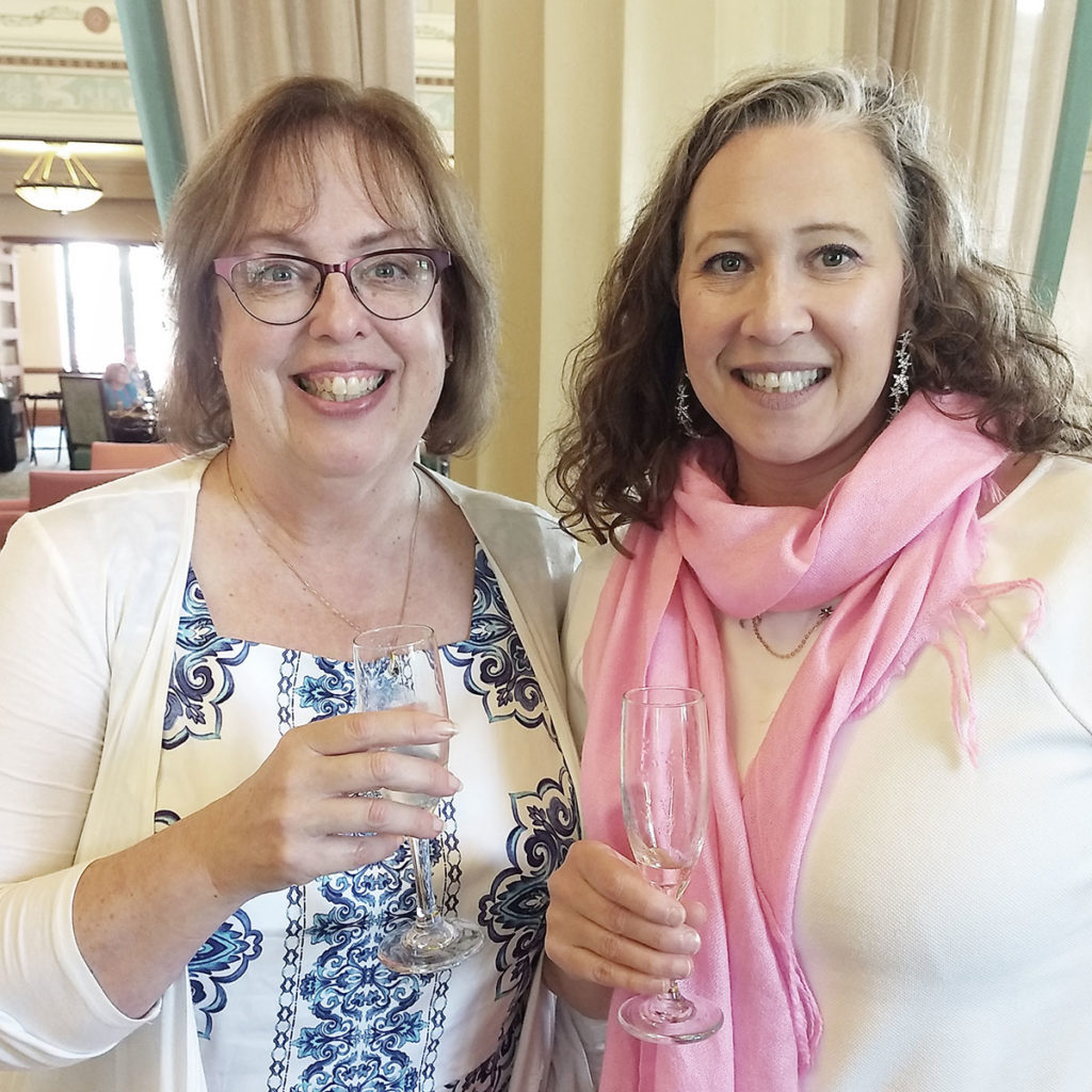 Sisters in Crime's new president Sherry Harris and immediate past president Diane Vallere. I love these women. Sisters in Crime has been such an important part of my writing career.